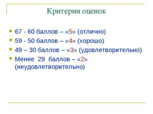 Критерии оценок 67 - 60 баллов – «5» (отлично) 59 - 50 баллов – «4» (хорошо)
