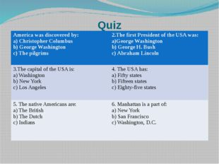 Quiz America was discovered by: a) Christopher Columbus b) George Washington