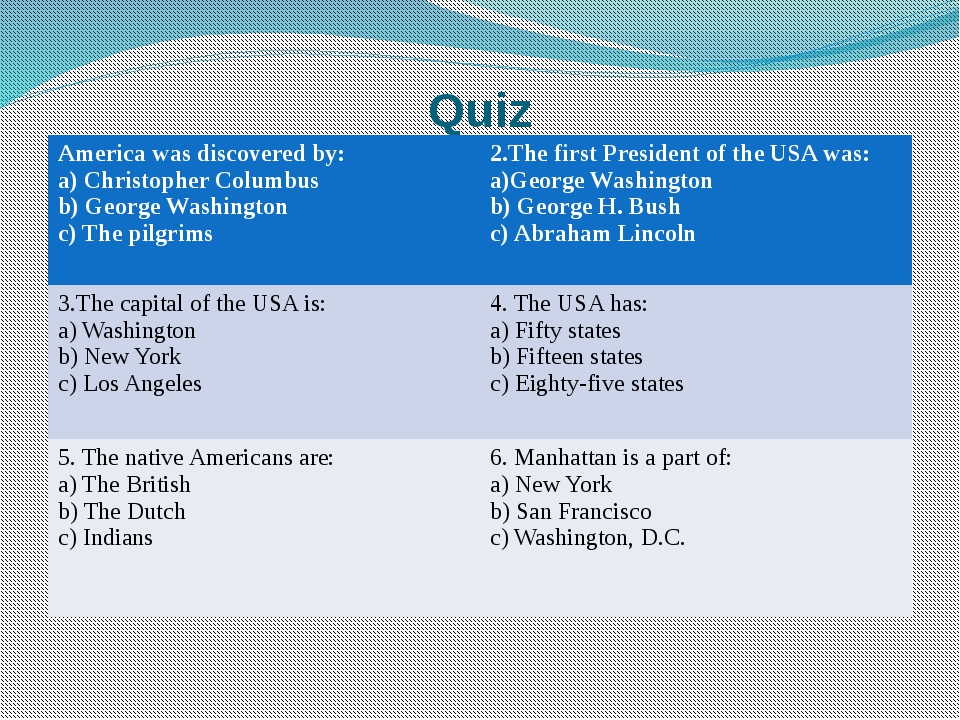 Quiz America was discovered by: a) Christopher Columbus b) George Washington...