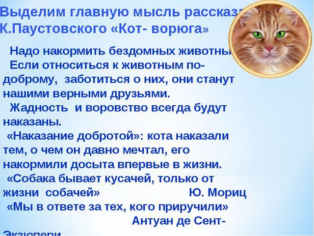 Выделим главную мысль рассказа К.Паустовского «Кот- ворюга» Надо накормить бе...