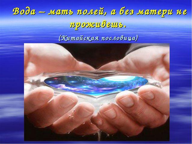 Вода – мать полей, а без матери не проживешь. (Китайская пословица)