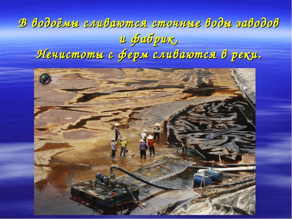В водоёмы сливаются сточные воды заводов и фабрик. Нечистоты с ферм сливаются...