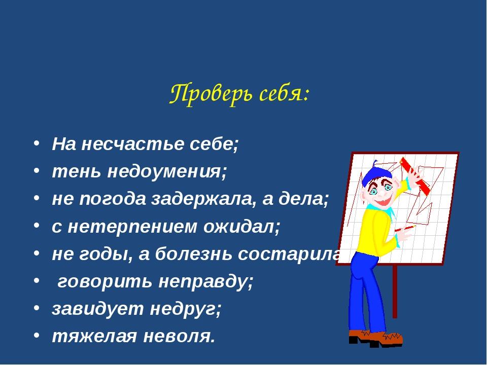 Проверь себя: На несчастье себе; тень недоумения; не погода задержала, а дела...