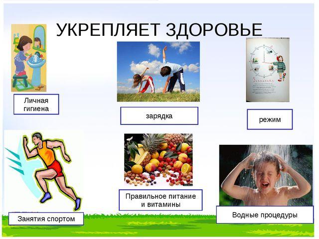 УКРЕПЛЯЕТ ЗДОРОВЬЕ Личная гигиена зарядка Занятия спортом Правильное питание...