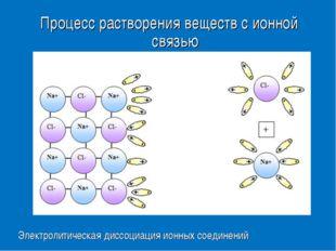 Процесс растворения веществ с ионной связью Электролитическая диссоциация ион