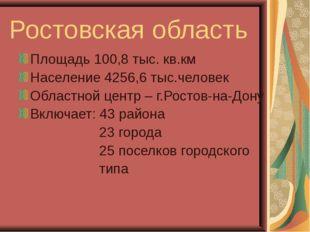 Ростовская область Площадь 100,8 тыс. кв.км Население 4256,6 тыс.человек Обла