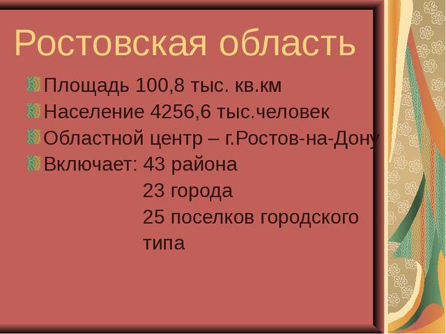 Ростовская область Площадь 100,8 тыс. кв.км Население 4256,6 тыс.человек Обла...