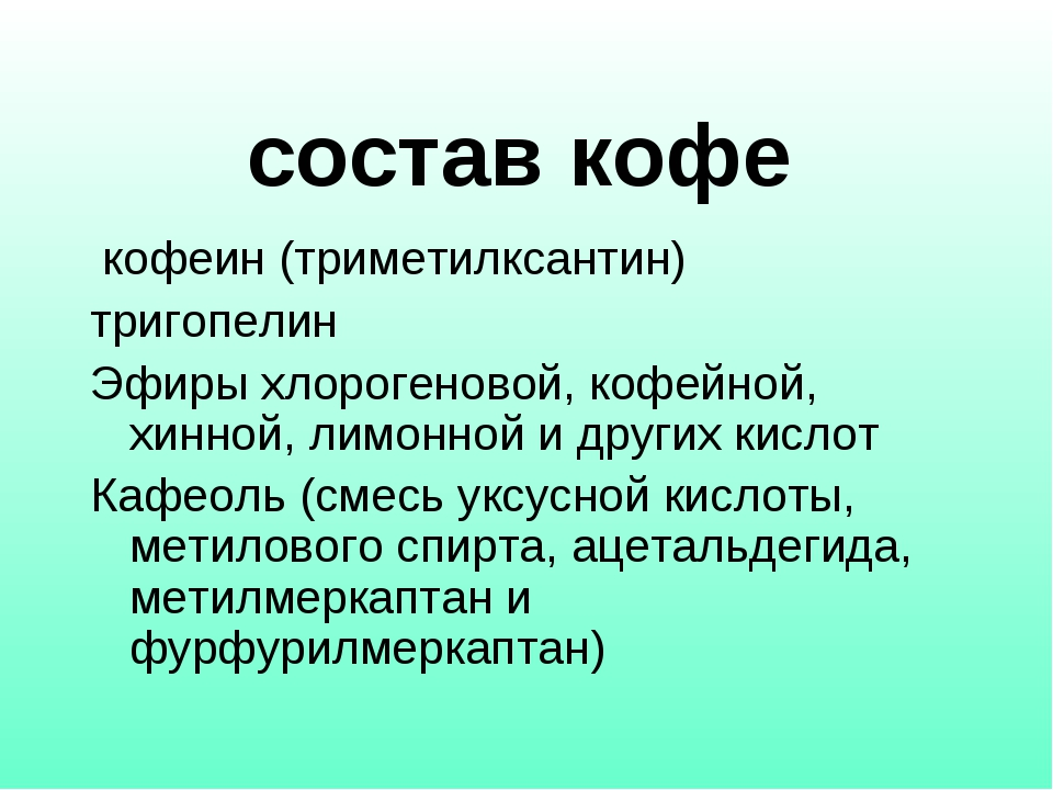 состав кофе кофеин (триметилксантин) тригопелин Эфиры хлорогеновой, кофейн...