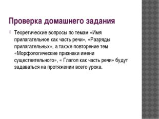 Проверка домашнего задания Теоретические вопросы по темам «Имя прилагательное