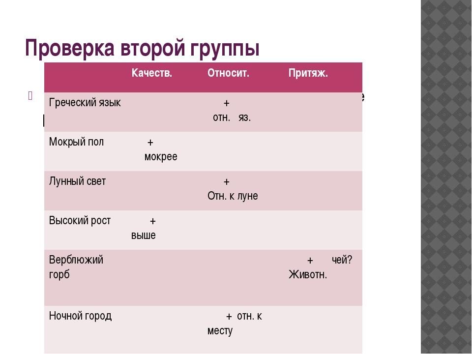 Проверка второй группы Отметьте знаком (+) в соответствующей колонке разряд и...