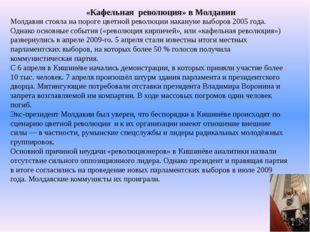 «Кафельная революция» в Молдавии Молдавия стояла на пороге цветной революции