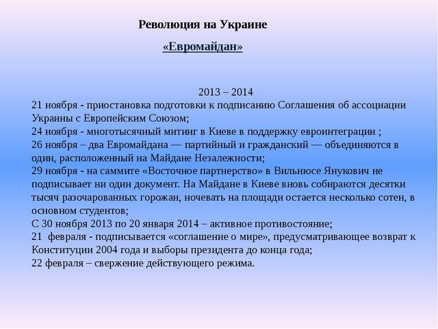 Революция на Украине «Евромайдан» 2013 – 2014 21 ноября - приостановка подгот...