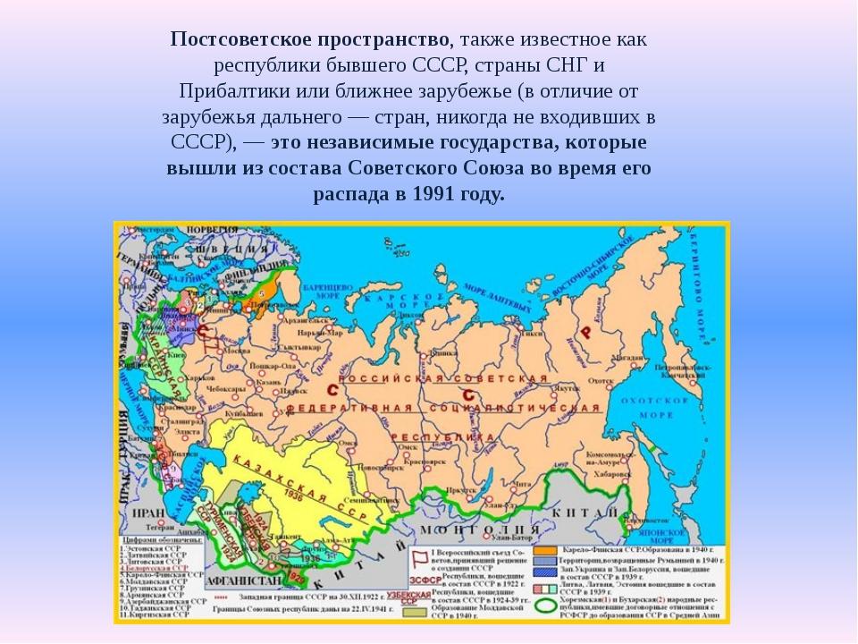 Постсоветское пространство, также известное как республики бывшего СССР, стра...