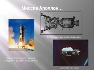 Миссия Аполлон… Запуск Аполлона 11 ракетой «Сатурн V» на Луну, 16 июля 1969 А