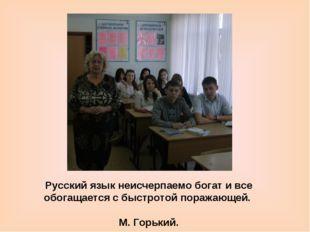 Русский язык неисчерпаемо богат и все обогащается с быстротой поражающей. М.