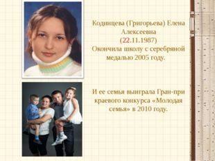 Кодинцева (Григорьева) Елена Алексеевна (22.11.1987) Окончила школу с серебря