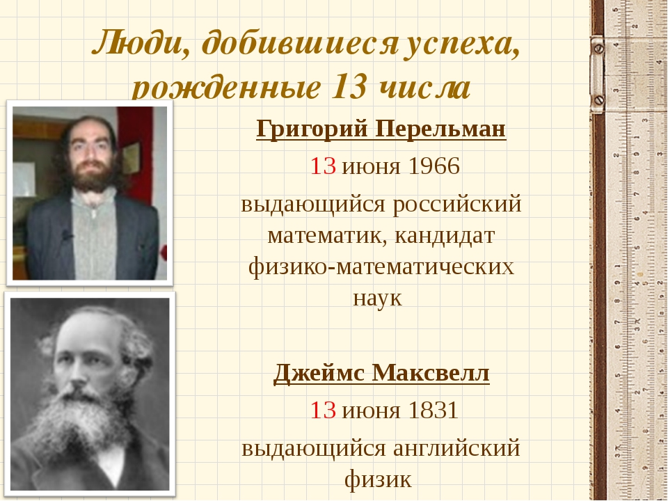 Люди, добившиеся успеха, рожденные 13 числа Григорий Перельман 13 июня 1966 в...