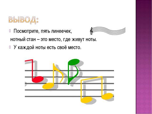 Посмотрите, пять линеечек, нотный стан – это место, где живут ноты. У каждой...