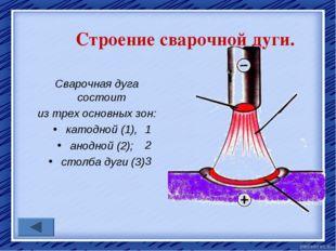 Строение сварочной дуги. Сварочная дуга состоит из трех основных зон: катодно