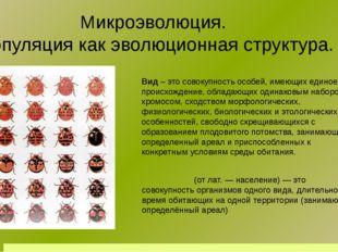 Микроэволюция. Популяция как эволюционная структура. Вид – это совокупность о
