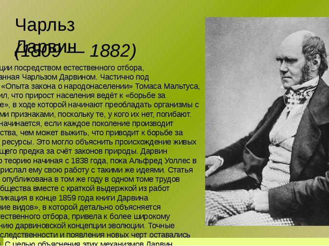 Чарльз Дарвин Теория эволюции посредством естественного отбора, сформулирован...