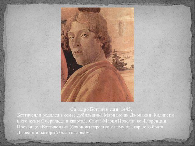 Са́ндро Боттиче́лли 1445, Боттичелли родился в семье дубильщика Мариано ди Д...