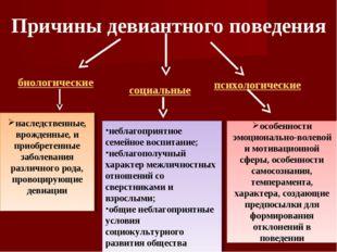 Причины девиантного поведения биологические социальные психологические наслед