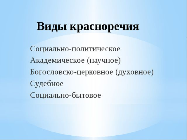 Виды красноречия Социально-политическое Академическое (научное) Богословско-ц...