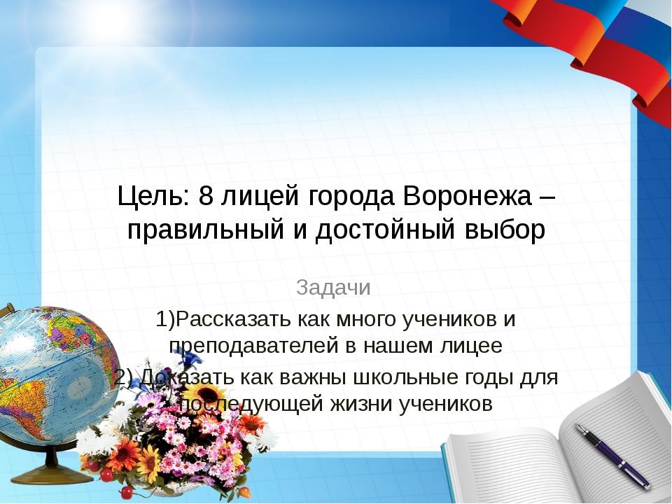 Цель: 8 лицей города Воронежа – правильный и достойный выбор Задачи 1)Рассказ...