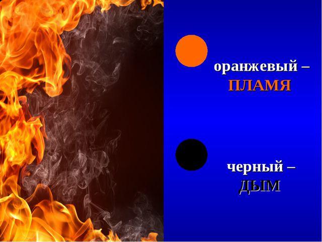 оранжевый – ПЛАМЯ черный – ДЫМ