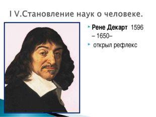 Рене Декарт 1596 – 1650– открыл рефлекс