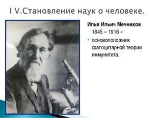 Илья Ильич Мечников 1845 – 1916 – основоположник фагоцитарной теории иммуните