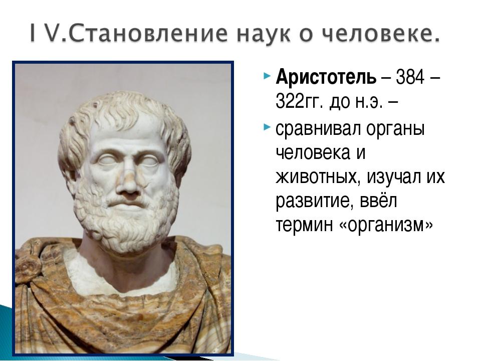 Аристотель – 384 – 322гг. до н.э. – сравнивал органы человека и животных, изу...
