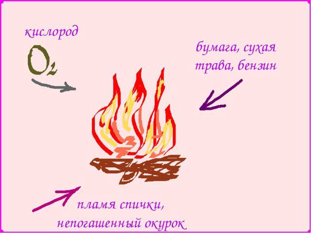 кислород пламя спички, непогашенный окурок бумага, сухая трава, бензин