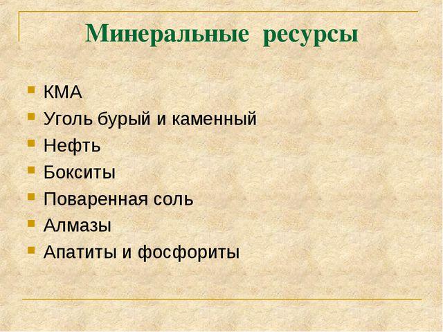 Минеральные ресурсы КМА Уголь бурый и каменный Нефть Бокситы Поваренная соль...