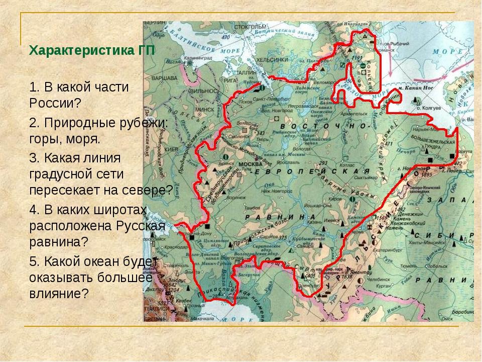 Характеристика ГП 1. В какой части России? 2. Природные рубежи: горы, моря. 3...