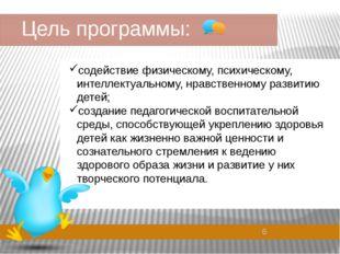 Цель программы: содействие физическому, психическому, интеллектуальному, нра