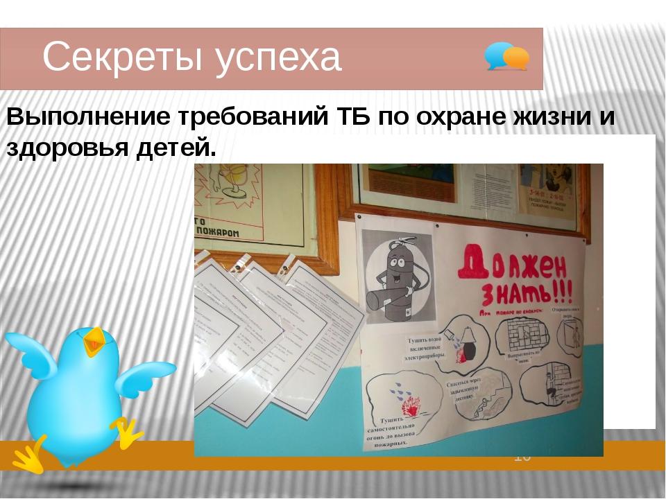 Секреты успеха Выполнение требований ТБ по охране жизни и здоровья детей.