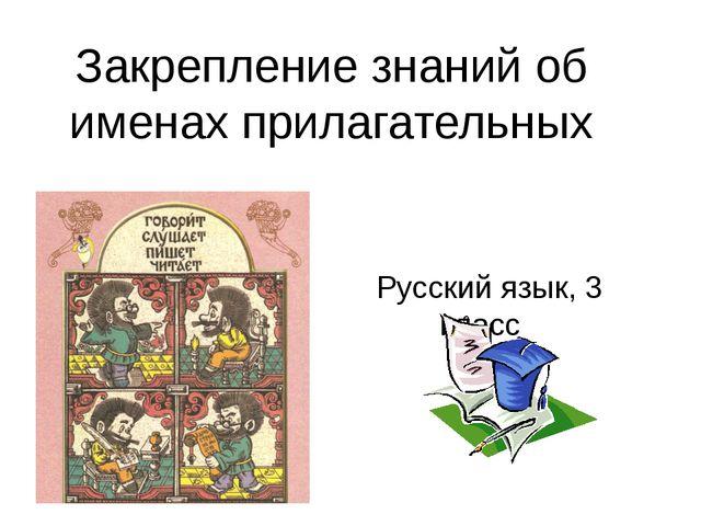 Русский язык, 3 класс Закрепление знаний об именах прилагательных