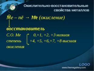 www.themegallery.com Окислительно-восстановительные свойства металлов Me – nē