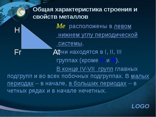 www.themegallery.com Общая характеристика строения и свойств металлов Me расп...