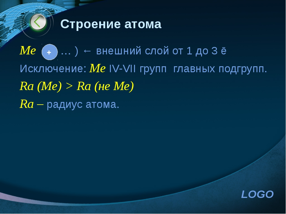 www.themegallery.com Строение атома Me … ) ← внешний слой от 1 до 3 ē Исключе...