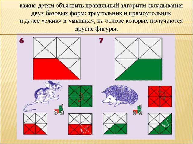 важно детям объяснить правильный алгоритм складывания двух базовых форм: треу...
