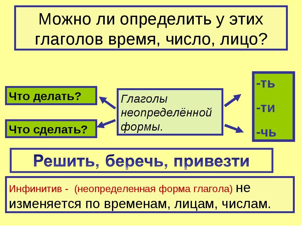 Можно ли определить у этих глаголов время, число, лицо? Глаголы неопределённо...