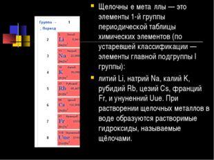 Щелочны́е мета́ллы — это элементы 1-й группы периодической таблицы химических