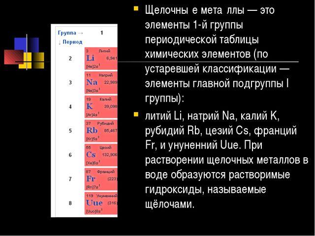 Щелочны́е мета́ллы — это элементы 1-й группы периодической таблицы химических...