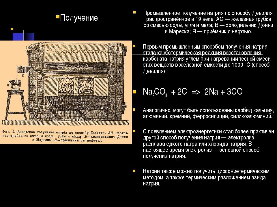 Промышленное получение натрия по способу Девилля, распространённое в 19 веке...