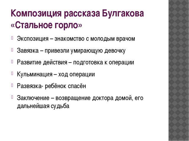 Композиция рассказа Булгакова «Стальное горло» Экспозиция – знакомство с моло...