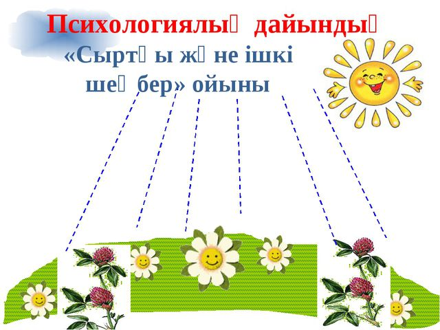 «Сыртқы және ішкі шеңбер» ойыны Психологиялық дайындық