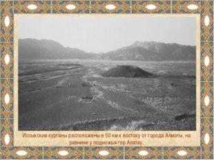 Иссыкские курганы расположены в 50 км к востоку от города Алматы, на равнине